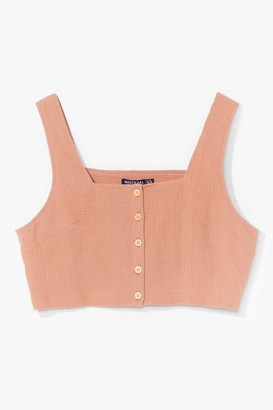 Nasty Gal Womens Nobody Else But You Button-Down Crop Top - Beige - 10, Beige
