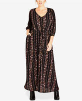 City Chic Trendy Plus Size Sitting Room Floral-Print Maxi Dress