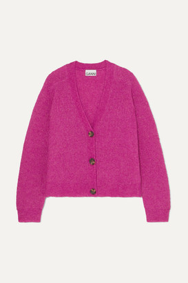 Ganni Ribbed-knit Cardigan - Fuchsia