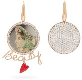 Francesca Villa Beauty Mismatched Diamond & 18kt Gold Earrings - Womens - Diamond