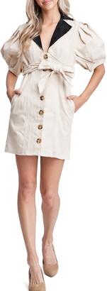 En Saison Corduroy Collar Stretch Cotton Sheath Dress