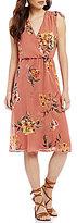 As U Wish Surplice Neckline Floral Print Midi Dress
