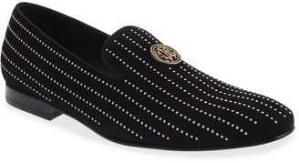 Roberto Cavalli Men's Studded Suede Loafers w/ Metal Logo