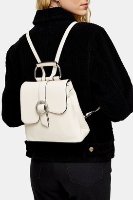 Topshop POLLY White Buckle Backpack
