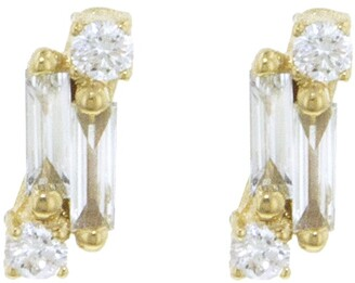 Suzanne Kalan Single Baguette and Round Diamond Yellow Gold Stud Earrings