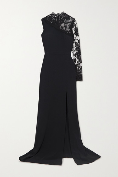 Alexander McQueen One-sleeve Lace And Crepe Gown - Black