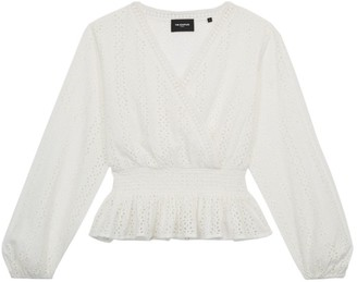 The Kooples Lace Faux-Wrap Blouse