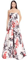 David Meister Printed Strapless Ball Gown.