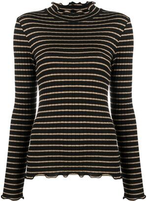 Liu Jo Ruffled Striped Knit Top