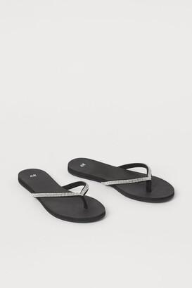 H&M Rhinestone Flip-flops - Black