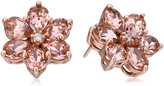 Amazon Collection Sterling Silver with Gold Plating Vintage Rose Crystal and White Cubic Zirconia Flower Shape Earrings