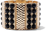 New York & Co. Beaded & Textured Stretch Bracelet