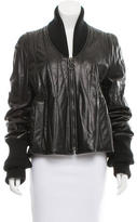 Maison Margiela Leather Knit-Trimmed Jacket