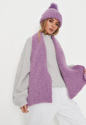 Missguided Lilac Boucle Knit Hat And Scarf Set