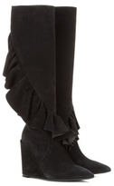 J.W.Anderson Ruffled Suede Knee-high Wedge Boots