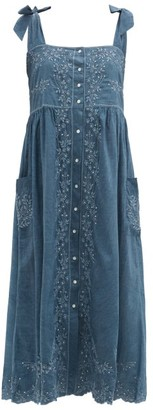Juliet Dunn Square-neck Hand-embroidered Cotton-chambray Dress - Blue