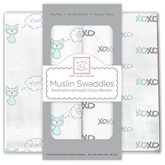 Swaddle Designs X-Large Cotton Muslin Swaddle Blankets, Sterling Jungle Friends, Set of 4