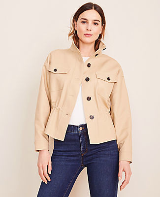Ann Taylor Petite Drawstring Stand Collar Jacket