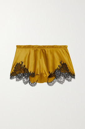 Carine Gilson Flottant Chantilly Lace-trimmed Silk-satin Shorts - Yellow