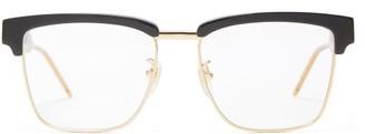 Gucci Square Frame Metal And Acetate Glasses - Mens - Black