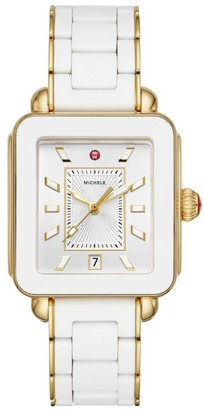 Michele Deco Sport Two-Tone White Wrapped Silicone & Goldplated Sterling Silver Bracelet Watch