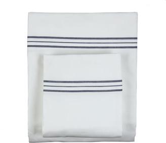 Ann Gish & The Art of Home Hem Stripe Sheet Set, White Navy, King