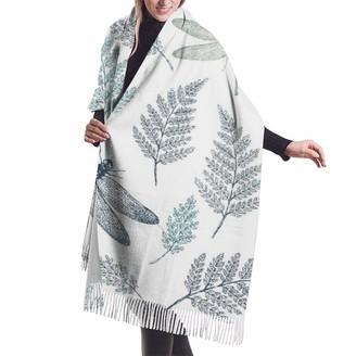 Leyhjai Floral Dragonfly Leaves White Elegant Scarf Soft Cashmere Feel Pashmina Wraps Shawl for Women Ladies