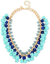 INC International Concepts M. Haskell for Gold-Tone Stone & Pom-Pom Statement Necklace, Created for Macy's