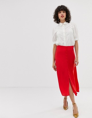 Pieces button through midi skirt in red