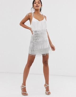 Asos Edition EDITION sequin fringe mini skirt-Silver