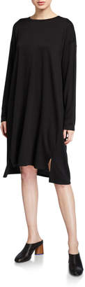 Eileen Fisher Jewel-Neck Long-Sleeve Slit Terry Dress