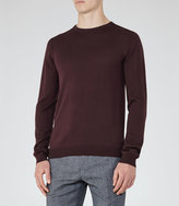 Reiss Reiss Hart - Merino Crew Neck Jumper In Purple