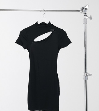ASOS DESIGN Petite high neck cut out strappy back tshirt mini dress in black