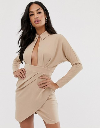 Asos Design DESIGN long sleeve wrap shirt mini dress-Beige
