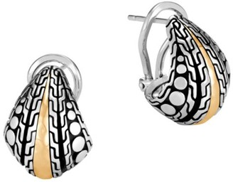 John Hardy Dot 18K Yellow Gold & Sterling Silver Hammered Buddha Belly Earrings
