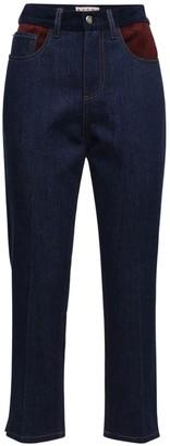 Marni Denim Straight Jeans W/ Suede & Leather