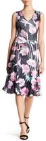 Komarov V-Neck Sleeveless Print Dress (Petite)