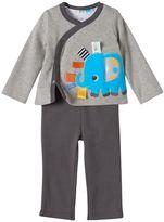 Taggies Baby Boy Elephant Cardigan, Bodysuit & Pants Set