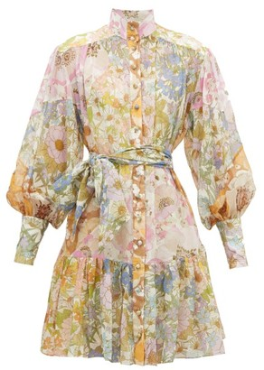 Zimmermann Super Eight Floral-print Chiffon Dress - Womens - Pink Print