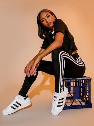 adidas 3 Stripe Mid Rise Tights in Black