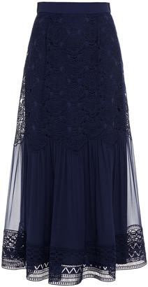 Alberta Ferretti Paneled Guipure Lace And Chiffon Midi Skirt