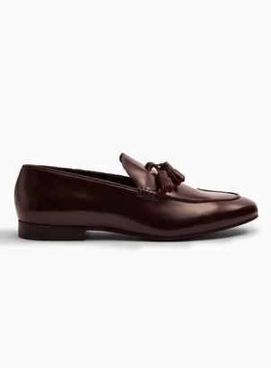 Topman HUDSON Burgundy High Shine Leather Bolton Tassel Loafers