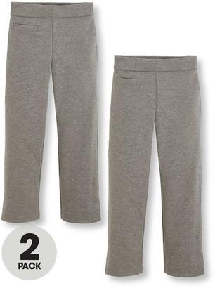 Very Girls 2 Pack Jersey Elastic Waist School Trousers - Grey