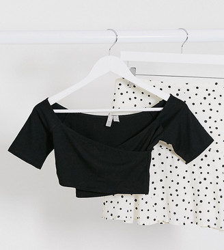 ASOS DESIGN Petite wrap off shoulder crop top in black