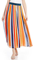 Chelsea & Theodore Pleated Striped Maxi Skirt