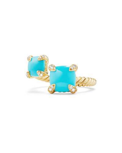 David Yurman Châtelaine 18K Gold Bypass Ring with Turquoise & Diamonds, Size 6