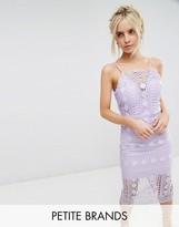Chi Chi London Petite High Neck Lace Midi Dress With V Back