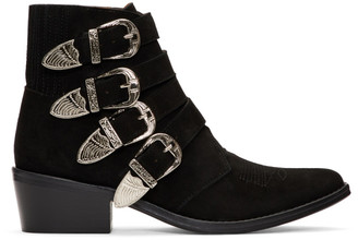 Toga Pulla Black Suede Four Buckle Western Boots