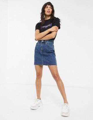 Dr. Denim mini skirt with raw hem-Blue