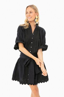 Juliet Dunn Black Poplin Blouson Dress